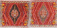 Abadeh Persian 2x2 Wool Hand-Knotted Geometric Oriental Foyer Rug Pare Of 2 Red