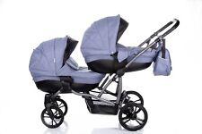 Zwillingskinderwagen Twin Tandem Baby Wagen Bebetto42 02.Jeans Buggy Babyschale