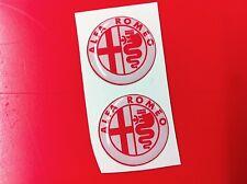 2 Adesivi Resinato Sticker 3D ALFA ROMEO 40 mm white & red