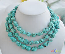 "S1537 50"" 16mm blue baroque original chunk Turquoise stone NECKLACE"