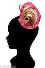 Petit chapeau de cérémonie femme pince RUE du BAG vert & rose taille unique NEUF