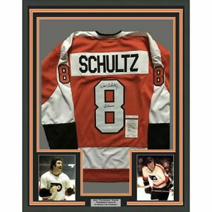 """FRAMED Autographed/Signed DAVE """"THE HAMMER"""" SCHULTZ 33x42 Orange Jersey JSA COA"""