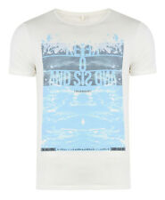 New Blend Men's Surf Beach Summer Print T-Shirt Jersey Cotton Top Off White
