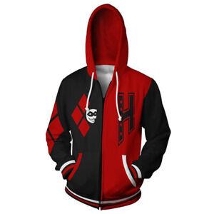 Suicide Squad Harley Quinn Hoodie Pullover Zip Up Jacket Sweatshirt Cosplay Coat