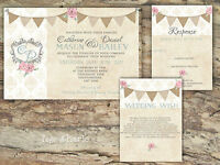 PERSONALISED RUSTIC BUNTING & DAMASK ROSE WEDDING INVITATIONS PACKS OF 10