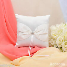 GB16c Ivory Bow Rhinestone Wedding Ceremony Satin Ring Bearer Pillow