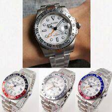 Bliger Men's Watch GMT Function Sapphire Glass Date 904L Bracelet White Dial
