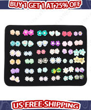 36 Pairs Fashion Plastic Colorful Flower Earrings Set Women Ear Stud Jewelry New