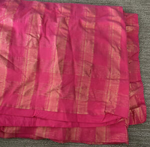 EUC Girls Bright Pink Gold Land Of Nod Buffalo Pattern Duvet Comforter Cover