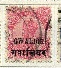 INDIA GWALIOR STATE; 1920s early GV issue fine used  1.5a. red