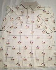 Men's GRAND SLAM TOUR Mercerized Polo Golf Shirt Beige Checkered Graphics Size L
