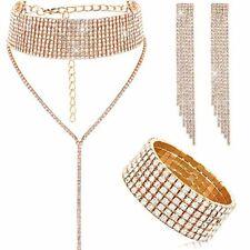 Women Crystal Jewelry Set Bridal Wedding Rhinestone Bracelet Dangle Earrings