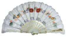 Hand Fans Abanico Made In Spain Flower Design Print Vintage Handheld Fan