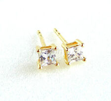 Men Boy Girl Pair Stud Earrings 14K Yellow Gold Plated 4mm Small Square CZ Cubic