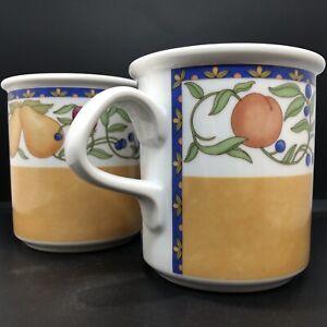 Set Of 2 DANSK Fiance Fruits Tall 12 Oz Coffee Cups Blue & Orange Band