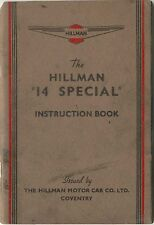 Hillman Fourteen 14 Special 1938-40 Original UK Owner's Handbook
