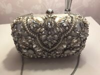 Used Silver Accessorize Beaded Occasion Bag