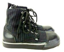 TUK Women US 9 UK 8 Black Pinstripe Hightop Cap Toe Sneaker 229-20
