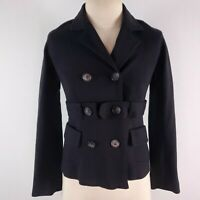 Theory Peacoat Jacket Coat Womens P 2 Crop Black Belted Casual Double Breasted