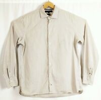 Tommy Mens Large Long Sleeve Brown White Stripe Button Cuff  Casual Smart Shirt