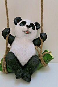 HANGING PANDA ON LOG  ANIMAL GARDEN STATUE ORNAMENT FIGURINE SCULPTURE