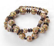 VTG Enamel Cloisonne Necklace Hand Knotted Pink Green Blue Beads Gold Gilded