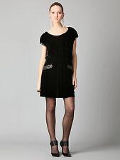 NWT Cynthia Steffe black velvet drop waist  cap sleeve dress leather trim 8 M