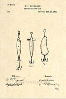 Official Fishing Lure US Patent Art Print - Circa 1883 - Antique Vintage Art 80