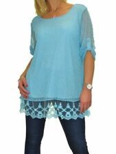 Ice Plus Size Lined Netting Top Sequin Detail Evening Party 12-22 Turquoise Blue Fits 16-18