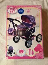Bayer TRENDY SET Baby Dolls Pram in Navy Blue & Pink Hearts Kids Buggy Set