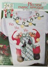 Vtg 1990s Daisy Kingdom No-Sew Fabric Applique Ho Ho Ho Santa Bears Christmas