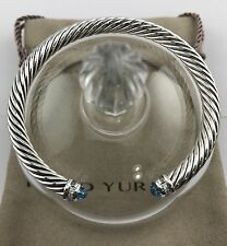 David Yurman Cable Classics Bracelet with Blue Topaz and Diamonds 5mm