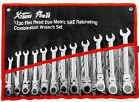 Xtremepower US 12pcs Flex-Head Combination Wrench Set SAE & MM Ratcheting