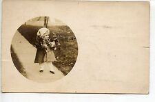 1908 Real Photo Postcard, Round Kodak, Girl & Teddy Bears, Norwood Station, OH