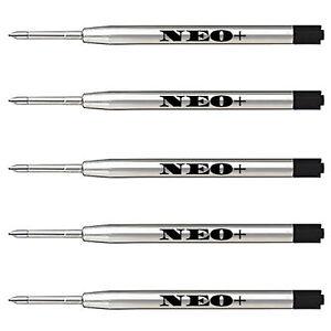 5 x Quality Ballpoint GEL ink Metal Pen Refills in black ink, Parker compatible