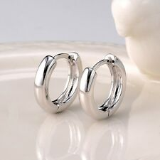 Women's Smooth Hoops Earrings 18k White Gold Filled Fashion Jewelry