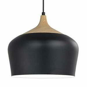 Ceiling Pendant Light Modern Chandelier with Wood Pattern Metal Shade,