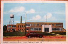 Aylmer, Ontario, Canada 1940s Postcard: Imperial Leaf Tobacco Plant & Car