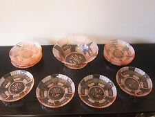 Beautiful Vintage French Pink Glass Bowl and Berry or Sauce Bowls 12 Pieces