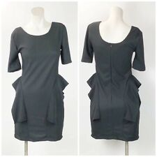 Compania Fantastica Small Womens Black Ruffle Quarter Sleeve Sheath Dress