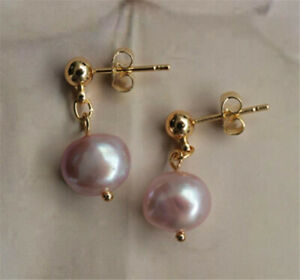 9-10MM pink baroque pearl earrings 18K aurora REAL natural party gorgeous earbob