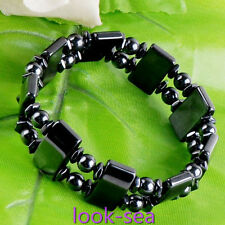 1pc Stretchy Hematitle Magnet Healing Black Bracelet Therapy Energy Relief Gift