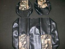 Yamaha G14-G22 Hunting Golf Cart Vinyl Seat Covers-Frnt/Rear(Black w/Camo Top)