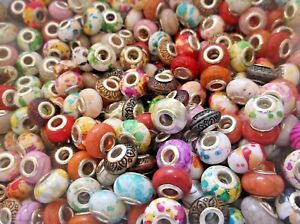 50 x ACRYLIC EUROPEAN CHARM BEADS Silver Core Mixed Styles & Colours
