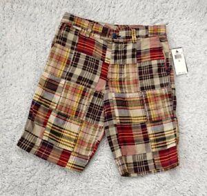 "Ralph Lauren Polo Size 16 Plaid Boys Shorts Madras 9.5"" Inseam Patchwork NEW"