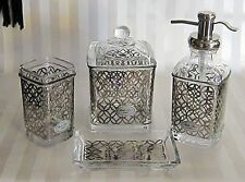 BELLA LUX CLEAR GLASS QUATREFOIL PEARL SILVER BATH ACCESSORY SET Soap Pump  Jar.
