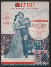 Vagabond King 1956 Only A Rose KATHRYN GRAYSON Vintage Movie Sheet Music Q04