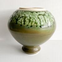 Vintage Retro Mid Century Green Olive Lava Drip Vase Ceramic  Studio Art Pottery