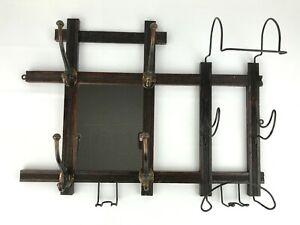 Victorian Oak Wall Mount Hat Coat Rack w/ Mirror Wire Hooks Antique Barber Salon