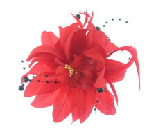 red with black beads and center detail fascinator clip